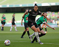 3rd November 2019; Aviva Stadium, Dublin, Leinster, Ireland; FAI Cup Womens Final Football, Peamount United versus Wexford Youth Womens Football Club; Rianna Jarrett (Wexford Youths) keeps the ball away from Claire Walsh (Peamount United) - Editorial Use