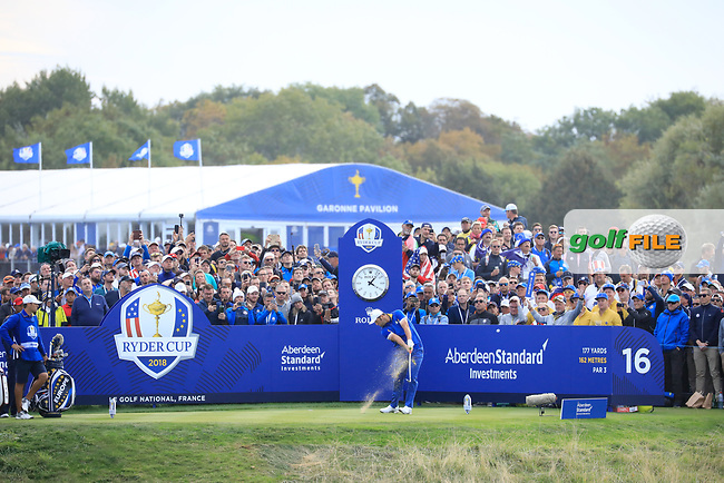 Jon Rahm (Team Europe) during the sunday singles at the Ryder Cup, Le Golf National, Paris, France. 30/09/2018.<br /> Picture Phil Inglis / Golffile.ie<br /> <br /> All photo usage must carry mandatory copyright credit (© Golffile | Phil Inglis)