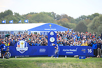 Jon Rahm (Team Europe) during the sunday singles at the Ryder Cup, Le Golf National, Paris, France. 30/09/2018.<br /> Picture Phil Inglis / Golffile.ie<br /> <br /> All photo usage must carry mandatory copyright credit (&copy; Golffile | Phil Inglis)