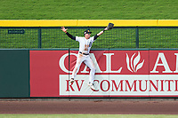 Mesa Solar Sox left fielder Daniel Woodrow (19), of the Detroit Tigers organization, catches a fly ball before hitting the outfield wall during an Arizona Fall League game against the Peoria Javelinas on October 11, 2018 at Sloan Park in Mesa, Arizona. The Solar Sox defeated the Javelinas 10-9. (Zachary Lucy/Four Seam Images)