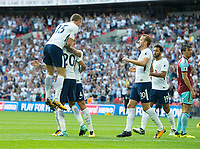 Tottenham players celebrating  Dele Alli goal during the Premier League match between Tottenham Hotspur and Burnley at White Hart Lane, London, England on 27 August 2017. Photo by Andrew Aleksiejczuk / PRiME Media Images.