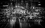 Shibuya Crossing on a wet afternoon in Tokyo, Japan