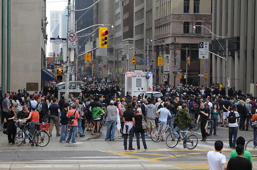 Toronto G 20 Protest g20 protesters Police crowd Bay Street Financial District Queen Street West at Bay Street