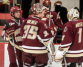 Ben Smith (BC - 12), Parker Milner (BC - 35), John Muse (BC - 1) - The Boston College Eagles defeated the Harvard University Crimson 3-2 on Wednesday, December 9, 2009, at Bright Hockey Center in Cambridge, Massachusetts.