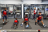(L-R) Wayne Routledge, Nathan Dyer, Tammy Abraham, Martin Olsson and Marco Dulca exercise in the gym during the Swansea City Training at The Fairwood Training Ground, Swansea, Wales, UK. Thursday 19 April 2018