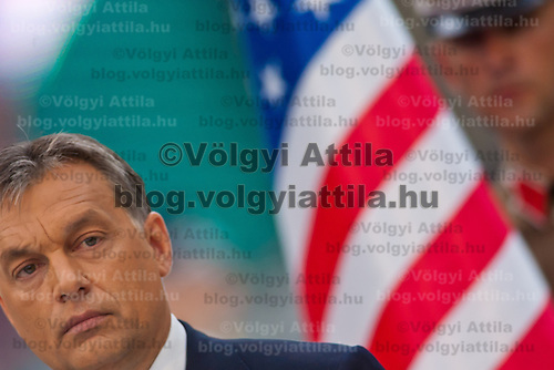 Viktor Orban (L) prime minister of Hungary delivers his speech during the inauguration of the new statue of Ronald Reagan on the square named Freedom in Budapest, Hungary. Wednesday, 29. June 2011. ATTILA VOLGYI