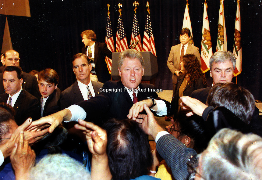 Bill Clinton campaigning in the San Francisco Bay Area in 1992. <br />