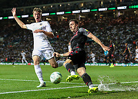 Stoke City's Stephen Ward clears under pressure from Leeds United's Jack Clarke<br /> <br /> Photographer Alex Dodd/CameraSport<br /> <br /> The Carabao Cup Second Round- Leeds United v Stoke City - Tuesday 27th August 2019  - Elland Road - Leeds<br />  <br /> World Copyright © 2019 CameraSport. All rights reserved. 43 Linden Ave. Countesthorpe. Leicester. England. LE8 5PG - Tel: +44 (0) 116 277 4147 - admin@camerasport.com - www.camerasport.com