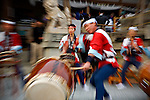 A taiko ensemble performs during the Sekku Matsuri, or Seasonal Festival, in Kasai-City Japan