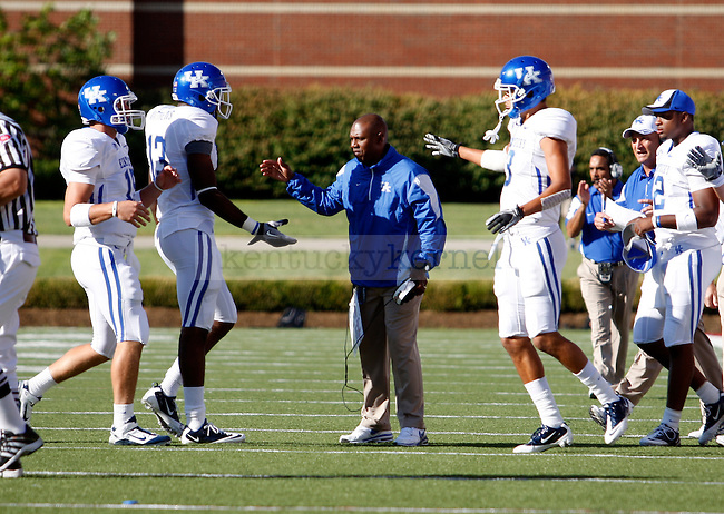 in the first/second half of the UK's 23-13 win over U of L, kicking off Joker Phillip's reign as head coach on Saturday, September 5, 2010. Photo by Britney McIntosh | Staff