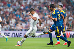 Real Madrid's player Carlos Henrique Casemiro and Celta de Vigo's player Gustavo Daniel Cabral during a match of La Liga Santander at Santiago Bernabeu Stadium in Madrid. August 27, Spain. 2016. (ALTERPHOTOS/BorjaB.Hojas)