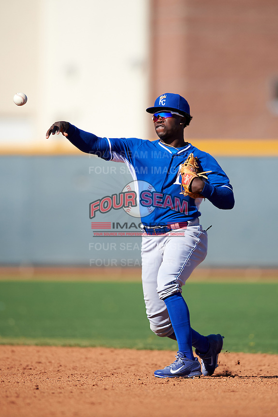 Kansas City Royals DJ Burt (9) during an Instructional League game against the Texas Rangers on October 4, 2016 at the Surprise Stadium Complex in Surprise, Arizona.  (Mike Janes/Four Seam Images)