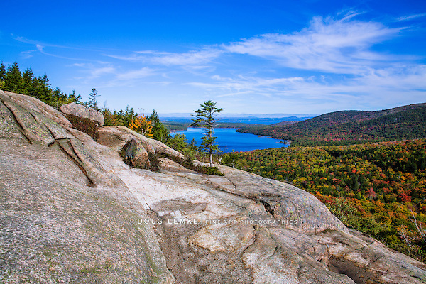 Eagle Lake Seen From Atop A Mountain Called The South Bubble At Acadia National Park, Maine, USA