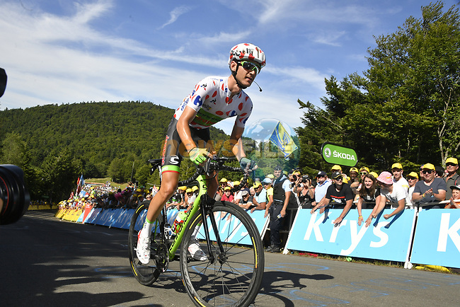 Polka Dot Jersey Nathan Brown (USA) Cannondale Drapac on La Planche des Belles Filles near the end of Stage 5 of the 104th edition of the Tour de France 2017, running 160.5km from Vittel to La Planche des Belles Filles, France. 5th July 2017.<br /> Picture: ASO/Bruno Bade | Cyclefile<br /> <br /> <br /> All photos usage must carry mandatory copyright credit (&copy; Cyclefile | ASO/Bruno Bade)