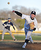 Will O'Brien #13 of Wantagh bears down with a runner on base in the top of the sixth inning of a Nassau County varsity baseball game against Hewlett at Wantagh High School on Tuesday, Apr. 5, 2016. He pitched a complete game and struck out 12 batters in Wantagh's 9-4 win.