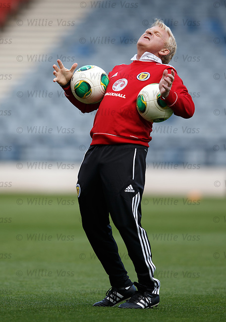 Scotland manager Gordon Strachan roars like a lion at training at Hampden