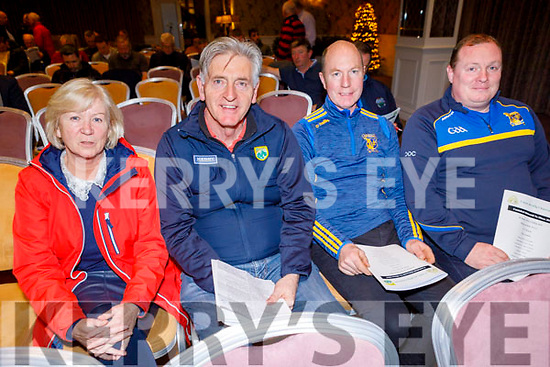 Bernie Reen (Kerry County GAA Childrens Officer) with Mike Sweeney, Ger Collins and Declan O'Connell from the Ballymac GAA club attending the Coiste na nÓg Chiarraí AGM in the Rose Hotel on Tuesday night.