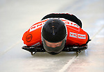 14 December 2007: Caleb Smith, racing for the USA, starts his first run at the FIBT World Cup Skeleton Competition at the Olympic Sports Complex on Mount Van Hovenberg, at Lake Placid, New York, USA. ..Mandatory Photo Credit: Ed Wolfstein Photo