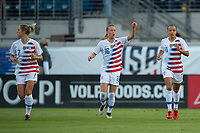 Jacksonville, FL - Thursday, April 05, 2018:  Emily Sonnett, Mallory Pugh, Goal Celebration during a friendly match between USA and Mexico at EverBank Stadium.  USA defeated Mexico 4-1.