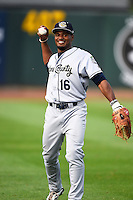 Kane County Cougars left fielder Quinnton Mack (16) during the first game of a doubleheader against the Cedar Rapids Kernels on May 10, 2016 at Perfect Game Field in Cedar Rapids, Iowa.  Kane County defeated Cedar Rapids 2-0.  (Mike Janes/Four Seam Images)
