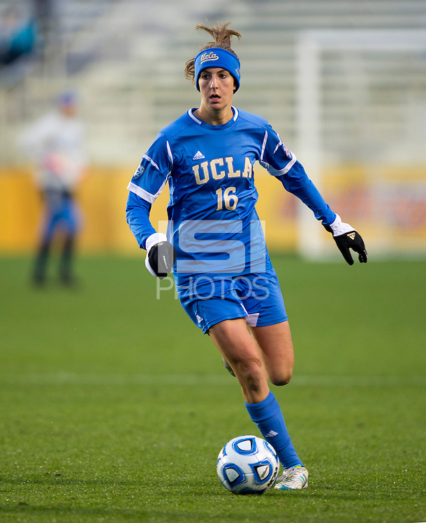 Sarah Killion (16) of UCLA looks for a teammate to pass to during the NCAA Women's College Cup finals at WakeMed Soccer Park in Cary, NC.  UCLA defeated Florida State, 1-0, in overtime.