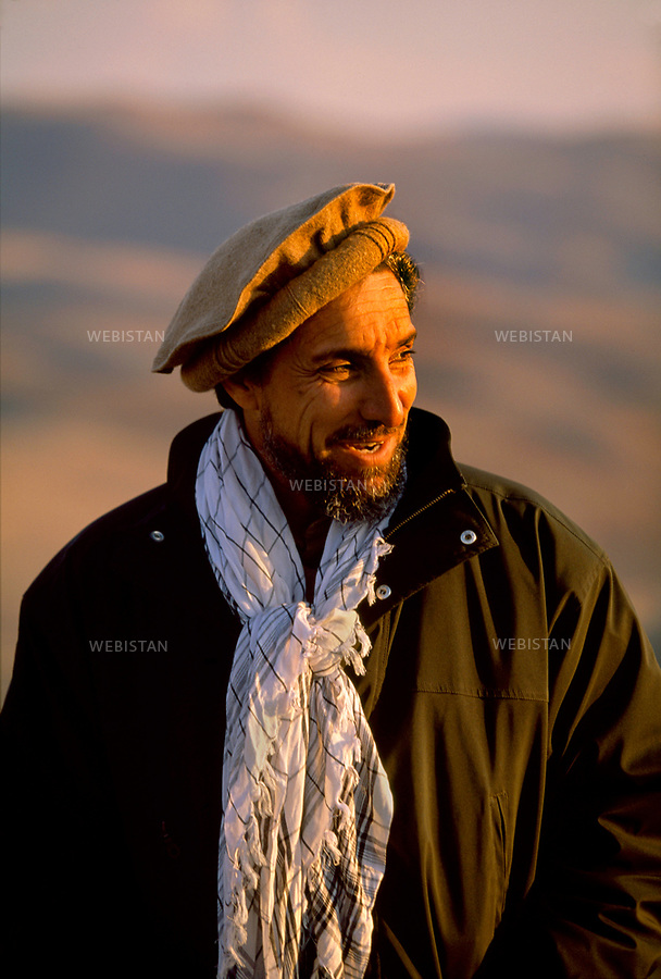 Afghanistan. Takhar Province. Dasht-e-Ghala. 2000. Portrait of Commander Massoud (1953-2001), chief of the Northern Alliance, at the post of command of Shafagh. <br /> <br /> Afghanistan. Province du Takhar. Dasht-e-Ghala. 2000. Portrait du commandant Massoud (1953-2001), chef de l'Alliance du Nord, au poste de commandement de Shafagh.