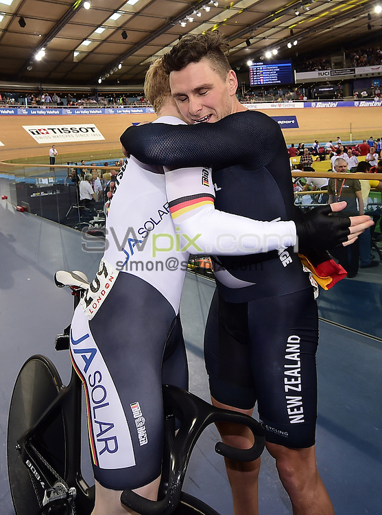 Picture by Alex Broadway/SWpix.com - 06/03/2016 - Cycling - 2016 UCI Track Cycling World Championships, Day 5 - Lee Valley VeloPark, London, England - Edward Dawkins of New Zealand congratulates Joachim Eilers of Germany after the German's victory in the Men's Keirin Final.
