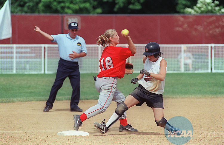 21 MAY 2000:  Shortstop Jackie Huegel (18) of St. Mary's University beats Cindy Bemis (23) of Chapman University to the bag during the Division 3 Women's Softball Championship held at the Moyer Sports Complex in Salem, VA.  St. Mary's University defeated Chapman University 5-0 for the championship title.  Andres Alonso/NCAA Photos