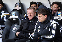 "SWANSEA, WALES - FEBRUARY 07: L-R Swansea manager Garry Monk with assistant Josep ""Pep"" Clotet during the Premier League match between Swansea City and Sunderland AFC at Liberty Stadium on February 7, 2015 in Swansea, Wales."