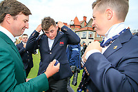 Steven Fisk (USA) James Sugrue (GB&I) Conor Purcell  (GB&I) trying on there new team USA ties during the opening ceremony at the Walker Cup, Royal Liverpool Golf CLub, Hoylake, Cheshire, England. 06/09/2019.<br /> Picture Fran Caffrey / Golffile.ie<br /> <br /> All photo usage must carry mandatory copyright credit (© Golffile | Fran Caffrey)
