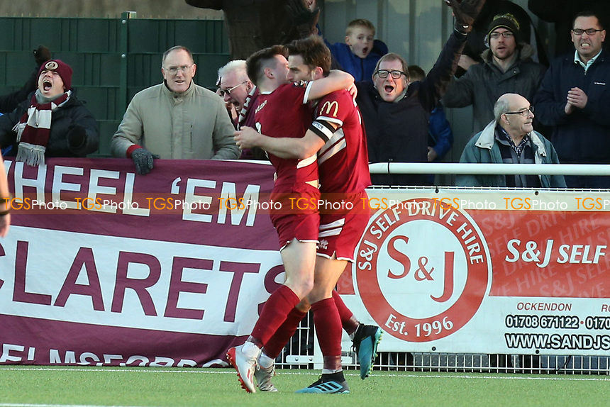 Chris Whelpdale of Chelmsford City is congratulated after scoring the first City goal during Aveley vs Chelmsford City, Buildbase FA Trophy Football at Parkside on 8th February 2020