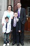 Joshua Neary Birch with his family at the St Mary's Congress Avenue Communion in St.Mary's Church...(Photo credit should read Jenny Matthews www.newsfile.ie)....This Picture has been sent you under the conditions enclosed by:.Newsfile Ltd..The Studio,.Millmount Abbey,.Drogheda,.Co Meath..Ireland..Tel: +353(0)41-9871240.Fax: +353(0)41-9871260.GSM: +353(0)86-2500958.email: pictures@newsfile.ie.www.newsfile.ie.