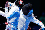(L to R) <br /> Do Thi Anh (VIE), <br />  Karin Miyawaki (JPN), <br /> AUGUST 20, 2018 - Fencing : <br /> Women's Individual Foil  Round of 16 <br /> at Jakarta Convention Center Cendrawasih <br /> during the 2018 Jakarta Palembang Asian Games <br /> in Jakarta, Indonesia. <br /> (Photo by Naoki Morita/AFLO SPORT)