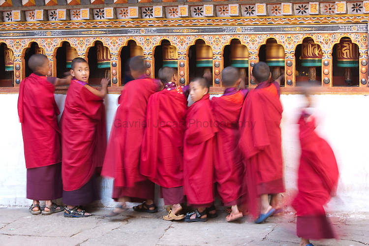 Buddhist monks and praying flags