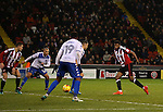 Ethan Ebanks-Landell of Sheffield Utd scores the winning goal during the English League One match at the Bramall Lane Stadium, Sheffield. Picture date: November 22nd, 2016. Pic Simon Bellis/Sportimage