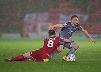 Lincoln City's Jake Hesketh vies for possession with Accrington Stanley's Sam Finley<br /> <br /> Photographer Andrew Vaughan/CameraSport<br /> <br /> The EFL Sky Bet League One - Accrington Stanley v Lincoln City - Saturday 15th February 2020 - Crown Ground - Accrington<br /> <br /> World Copyright © 2020 CameraSport. All rights reserved. 43 Linden Ave. Countesthorpe. Leicester. England. LE8 5PG - Tel: +44 (0) 116 277 4147 - admin@camerasport.com - www.camerasport.com