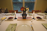 Centerpiece on table for Thanksgiving dinner celebration.