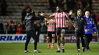 Lincoln City manager Danny Cowley, left, and Lincoln City's assistant manager Nicky Cowley, right, with Lincoln City's John Akinde at the end of the game<br /> <br /> Photographer Chris Vaughan/CameraSport<br /> <br /> The EFL Sky Bet League Two - Lincoln City v Exeter City - Tuesday 26th February 2019 - Sincil Bank - Lincoln<br /> <br /> World Copyright © 2019 CameraSport. All rights reserved. 43 Linden Ave. Countesthorpe. Leicester. England. LE8 5PG - Tel: +44 (0) 116 277 4147 - admin@camerasport.com - www.camerasport.com
