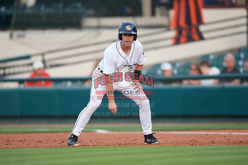 Lakeland Flying Tigers designated hitter Chad Sedio (20) leads off first base during a game against the Tampa Tarpons on April 5, 2018 at Publix Field at Joker Marchant Stadium in Lakeland, Florida.  Tampa defeated Lakeland 4-2.  (Mike Janes/Four Seam Images)