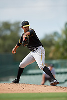 Pittsburgh Pirates pitcher Noe Toribio (50) delivers a pitch during a Florida Instructional League game against the Baltimore Orioles on September 22, 2018 at Ed Smith Stadium in Sarasota, Florida.  (Mike Janes/Four Seam Images)