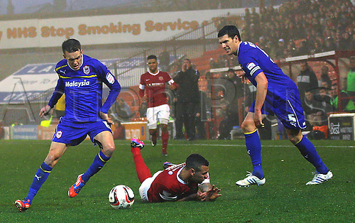 24.11.2012 Barnsley, England. Cardiff City's Craig Noone in action during the Championship game between Barnsley and Cardiff City from Oakwell.