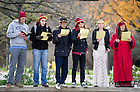 "Nov. 2, 2012; Students read from The Divine Comedy at the Knute Rockne Memorial. Italian Studies at Notre Dame and the College of Arts and Letters' and the William and Katherine Devers Program in Dante Studies hosted ""Dante Now"" at various locations around campus. Photo by Barbara Johnston/University of Notre Dame"