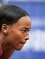 Dalilah MUHAMMAD of USA before her 400m Hurdles race during the Muller Grand Prix Birmingham Athletics at Alexandra Stadium, Birmingham, England on 20 August 2017. Photo by Andy Rowland.
