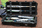 CHAPEL HILL, NC - MAY 11: Notre Dame's bats in their travel case. The #4 Boston College Eagles played the #5 University of Notre Dame Fighting Irish on May 11, 2017, at Anderson Softball Stadium in Chapel Hill, NC in a 2017 Atlantic Coast Conference Tournament Quarterfinal Softball game. Notre Dame won the game 9-5 in eight innings.