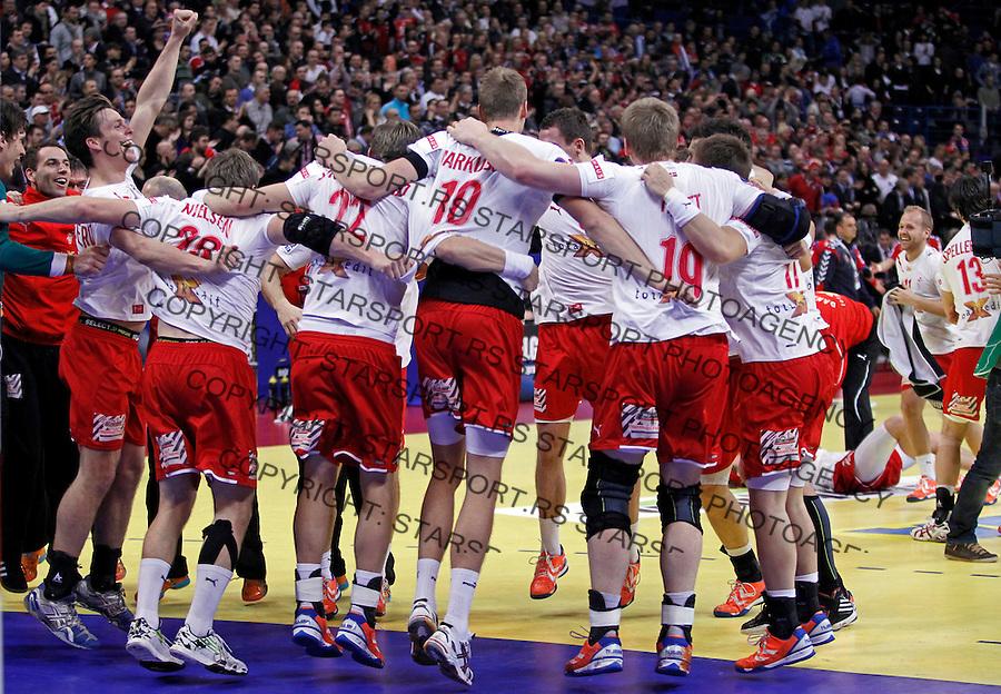 Denmark handball team players celebrate victory in men`s EHF EURO 2012 handball championship final game against Serbia in Belgrade, Serbia, Sunday, January 29, 2011.  (photo: Pedja Milosavljevic / thepedja@gmail.com / +381641260959)