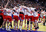 Denmark handball team players celebrate victory in men`s EHF EURO 2012 handball championship final game against Serbia in Belgrade, Serbia, Sunday, January 29, 2011.  (photo: Pedja Milosavljevic / thepedja@gmail.com / +381641260959)
