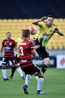 Wellington Phoenix&rsquo; Blake Powell and Wanderers' Scott Jamieson in action during the A League - Wellington Phoenix v Western Sydney Wanderers FC at Westpac Stadium, Wellington, New Zealand on Sunday 10 April 2016. <br /> Photo by Masanori Udagawa. <br /> www.photowellington.photoshelter.com.