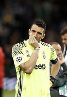 Calcio, Champions League: finale Juventus vs Real Madrid. Cardiff, Millennium Stadium, 3 giugno 2017.<br /> Juventus&rsquo; goalkeeper Gianluigi Buffon reacts at the end of the Champions League final match between Juventus and Real Madrid at Cardiff's Millennium Stadium, Wales, June 3, 2017. Real Madrid won 4-1.<br /> UPDATE IMAGES PRESS/Isabella Bonotto