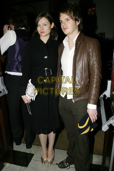 "SOPHIE ELLIS BEXTOR & RICHARD JONES.""A Life in Theatre"" press night,.Apollo Theatre, Shaftesbury Avenue, London,.February 2nd 2005..full length couple gold shoes.Ref: AH.www.capitalpictures.com.sales@capitalpictures.com.©Capital Pictures."