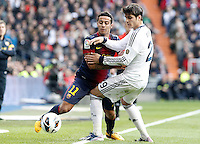 Real Madrid's Alvaro Morata (r) and FC Barcelona's Thiago Alcantara during La Liga match.March 02,2013. (ALTERPHOTOS/Acero) /NortePhoto